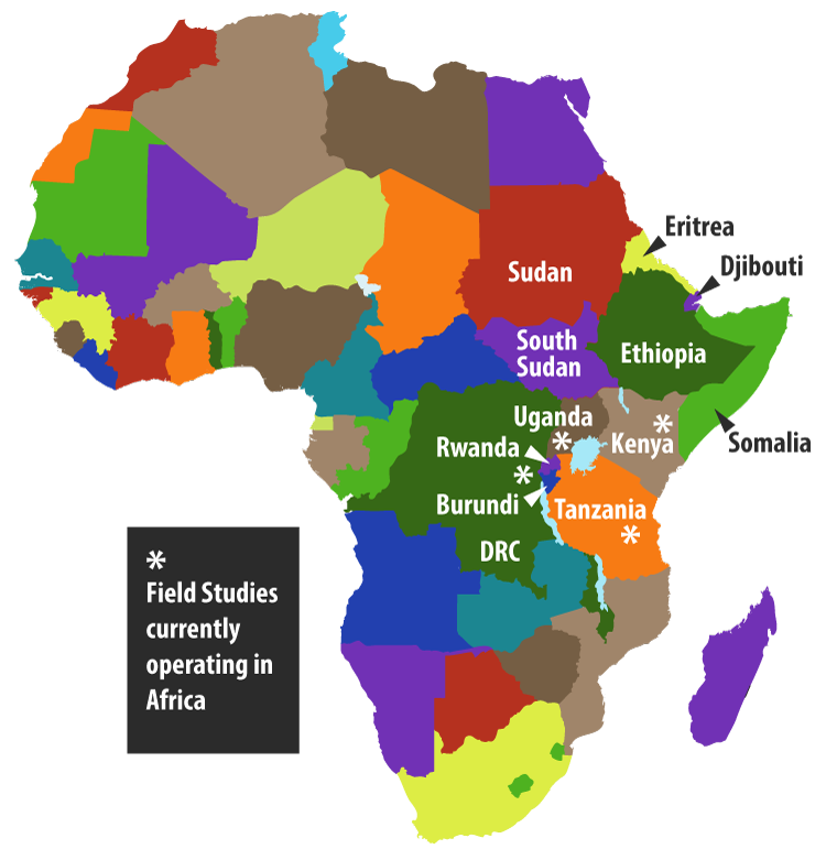 Map of Africa indicating where field studies are happening