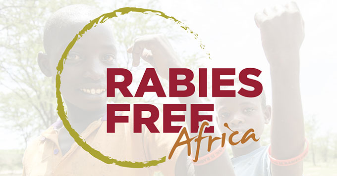 Rabies Free Africa logo with photo.