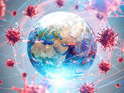 graphic of earth surrounded by viruses